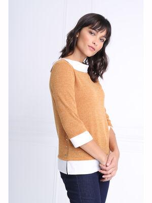 T shirt manches 34 2 en 1 jaune moutarde femme