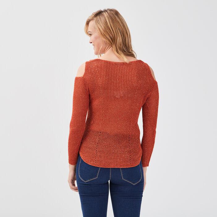 Pull manches longues ajouré orange foncé femme