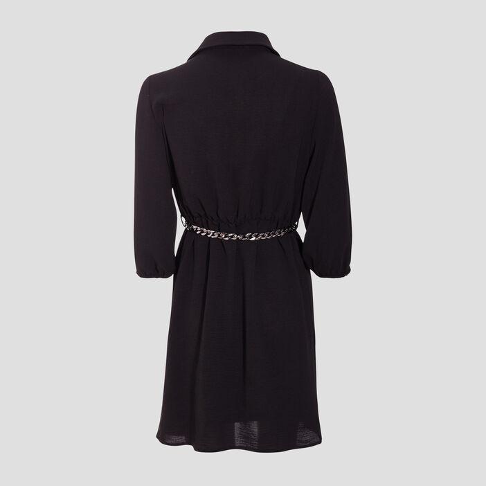 Robe droite ceinturée noir femme