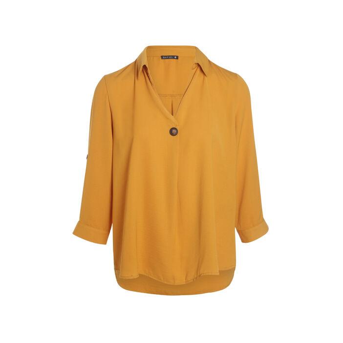 Blouse manches 3/4 boutonnées jaune or femme