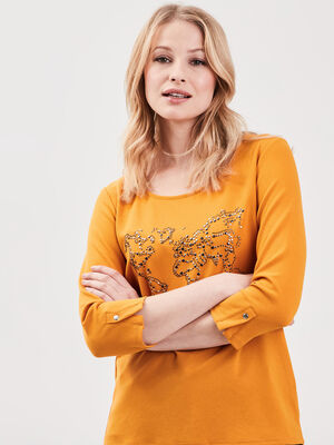 T shirt manches 34 strass jaune moutarde femme