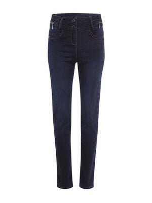 Jeans push up zips decoratifs denim brut femme