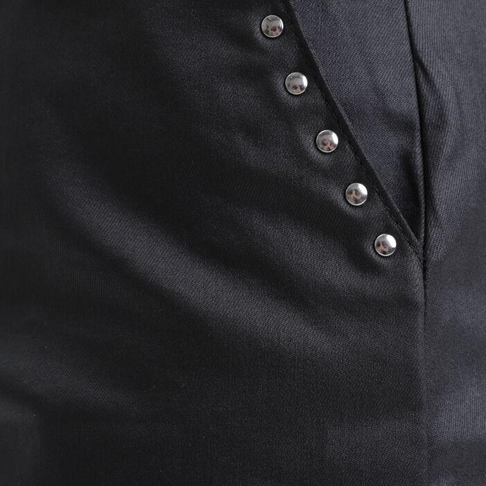 Jupe droite enduite détails cloutés noir femme