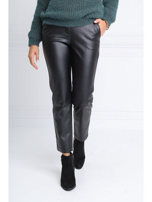 Pantalon chino taille basculee noir femme