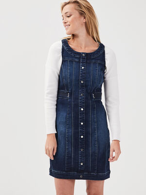 Robe ajustee en jean denim stone femme