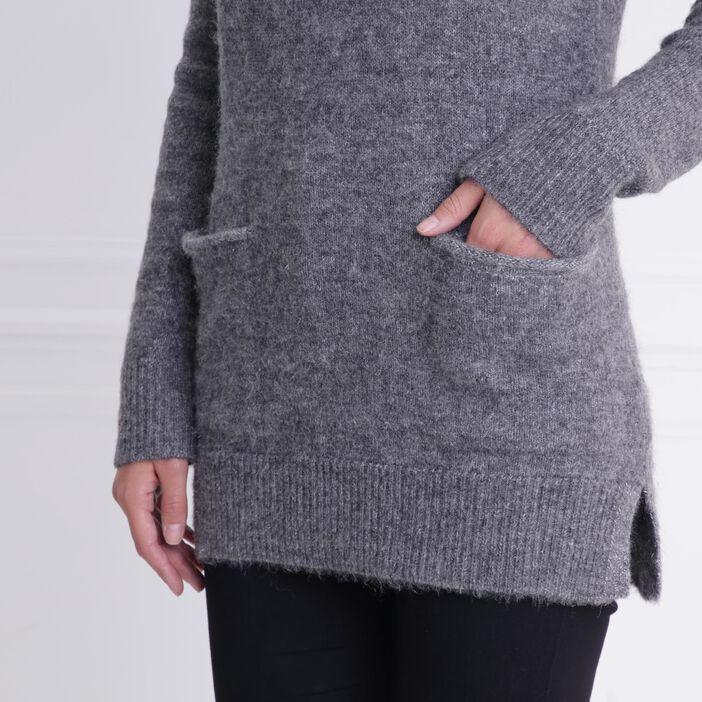 Tunique col boule avec poches gris foncé femme