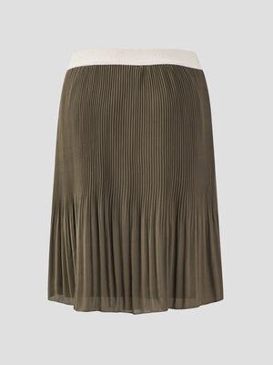 Jupe droite plissee vert kaki femme