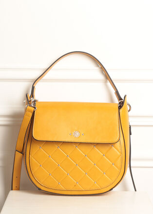 Sac bandouliere details clous jaune moutarde femme