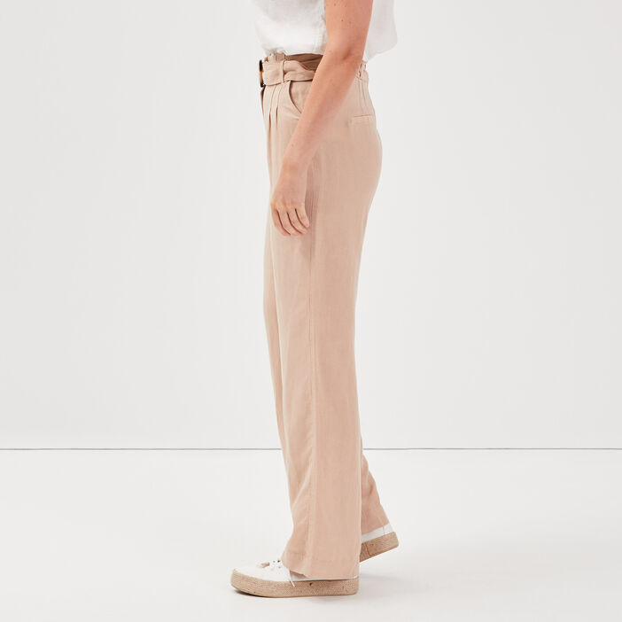 Pantalon large taille haute sable femme