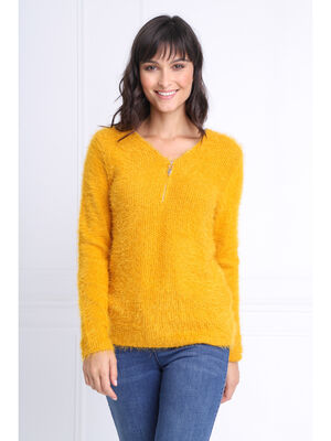 Pull manches longues zippe jaune or femme