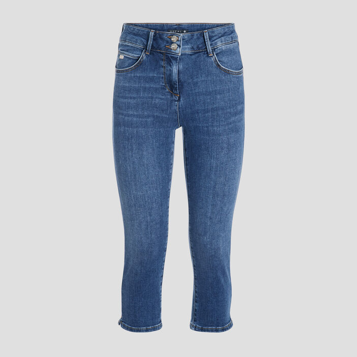 Pantacourt slim en jean denim stone femme