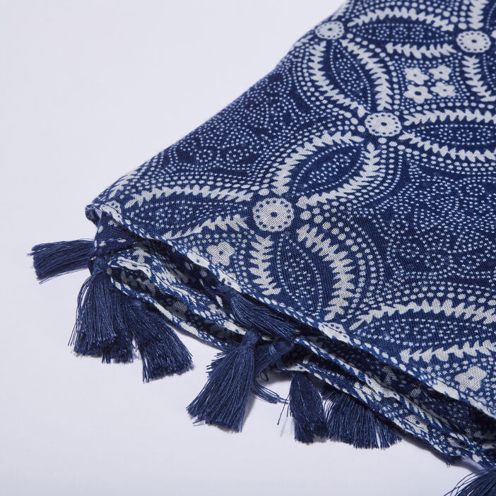 Foulard avec pampilles bleu electrique femme