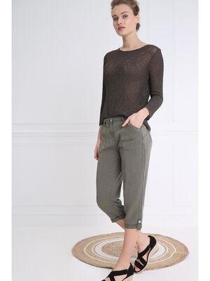 Pantacourt taille standard vert kaki femme