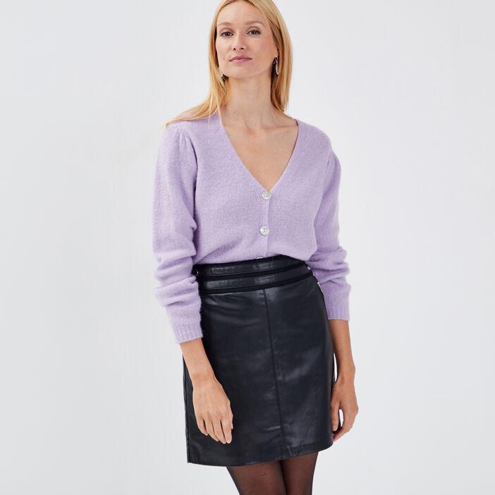 Gilet manches longues boutonné violet clair femme