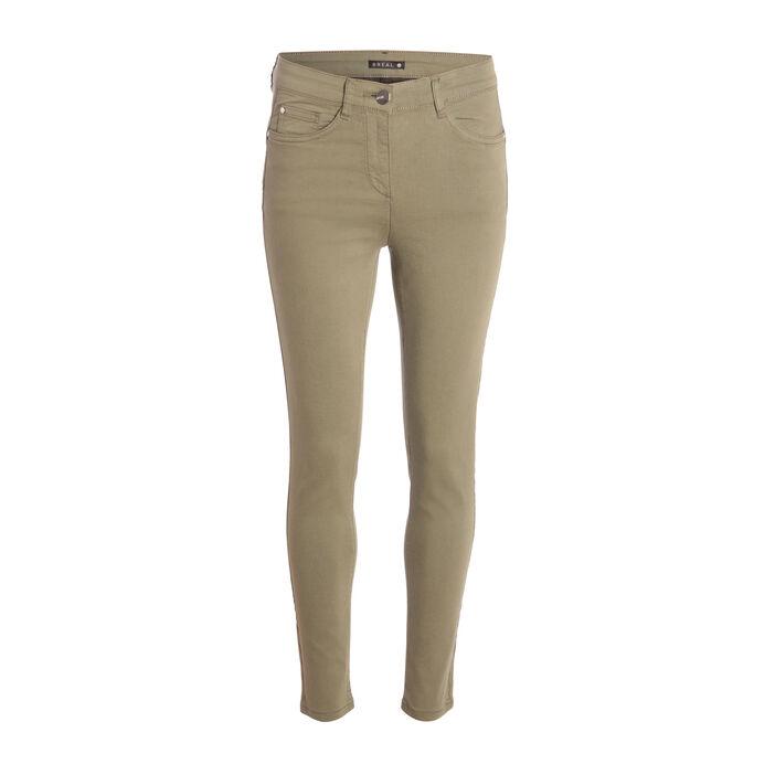 Pantalon léger toucher doux vert kaki femme