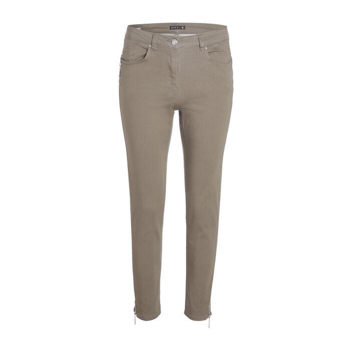 Pantalon 7/8 satin vert kaki femme