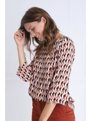 Blouse manches 34 col rond multicolore femme