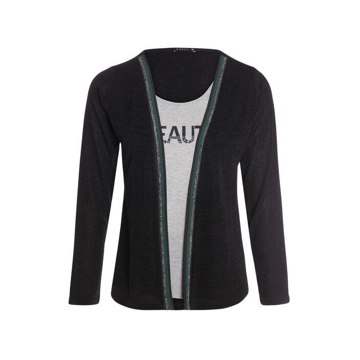 T-shirt col rond 2 en 1 détails irisés noir femme