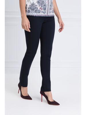 Pantalon ajuste bande brodee bleu fonce femme