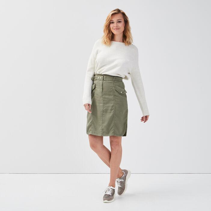 Jupe droite ceinturée vert kaki femme