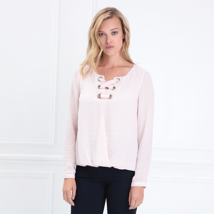 Chemise manches longues rose clair femme