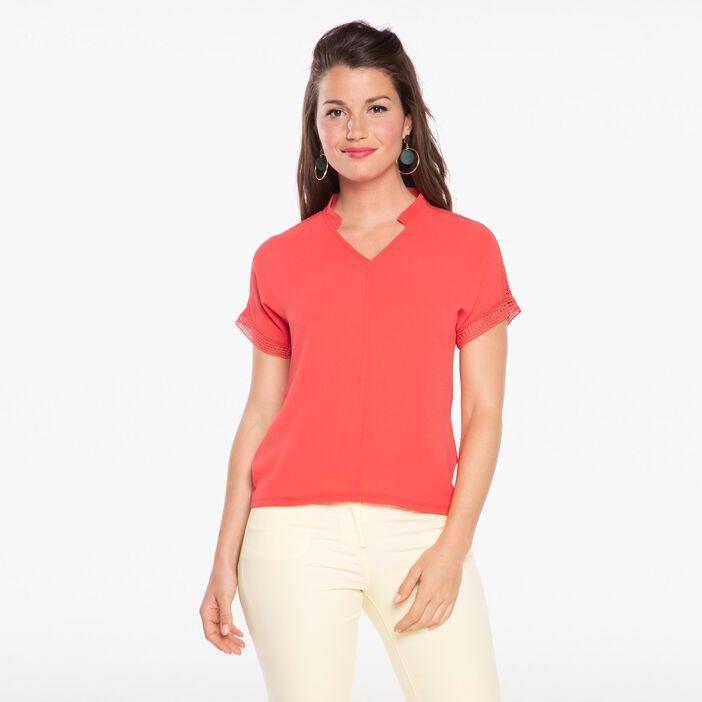 T-shirt manches courtes col mao rose fushia femme