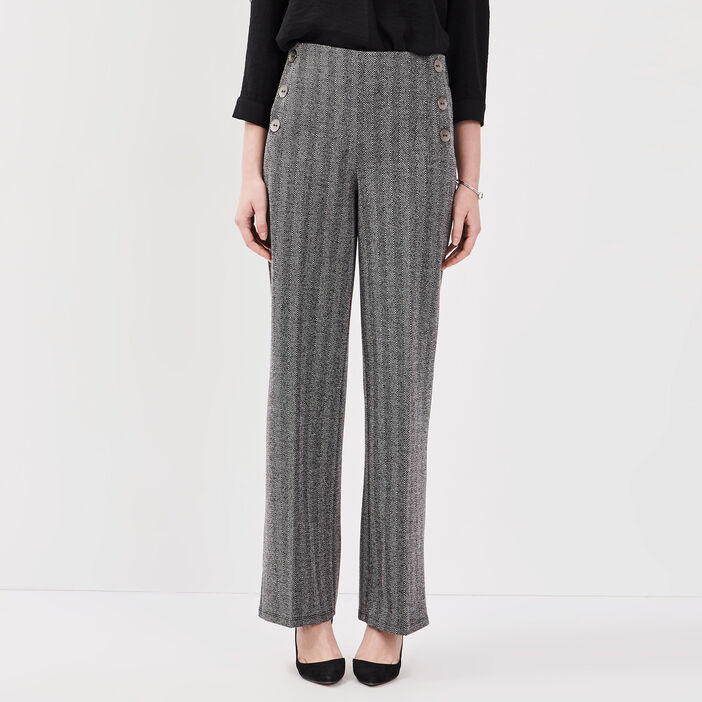 Pantalon ample taille haute noir femme