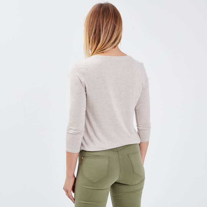 T-shirt manches 3/4 beige femme