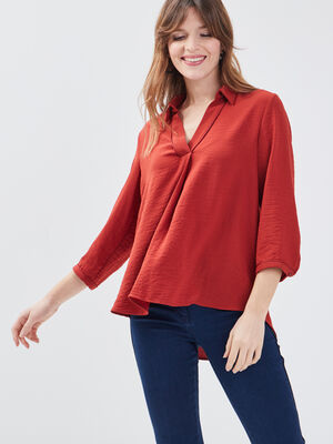 Blouse manches 34 rouge fonce femme