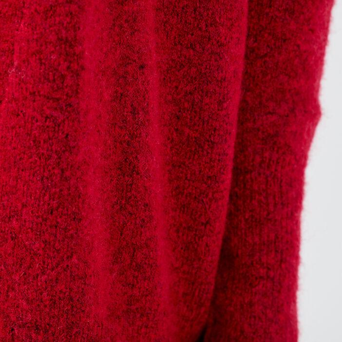 Gilet manches longues rouge foncé femme