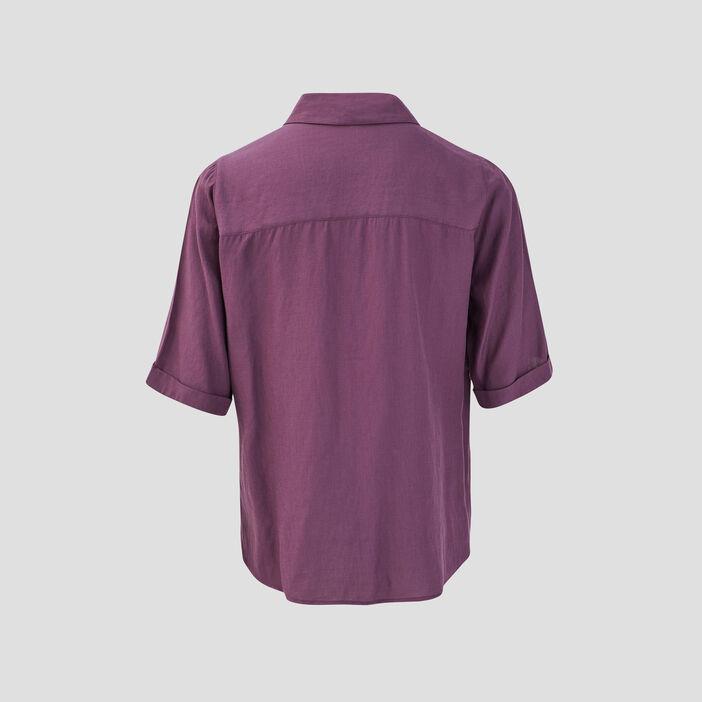 Chemise manches courtes violet foncé femme