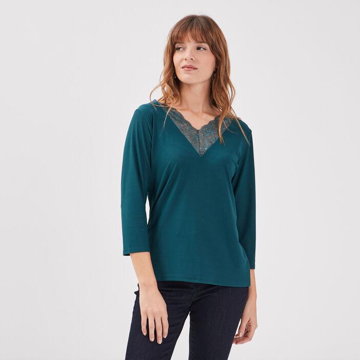 T-shirt manches 3/4 vert canard femme