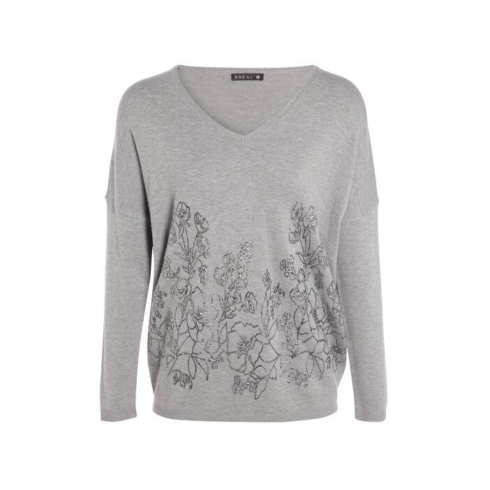 Pull léger imprimé fleurs argentées gris clair femme