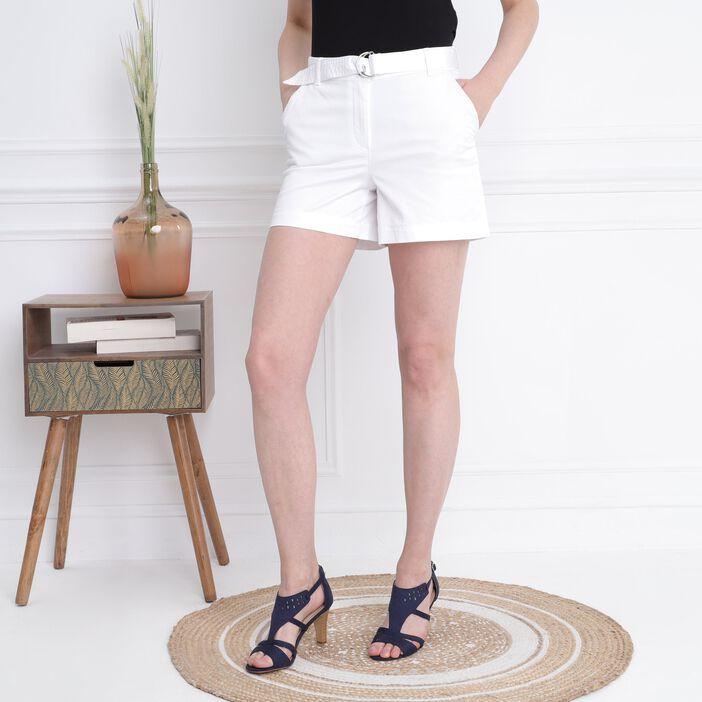 Short court ceinturé blanc femme