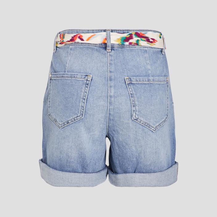 Short droit ceinturé en jean denim double stone femme