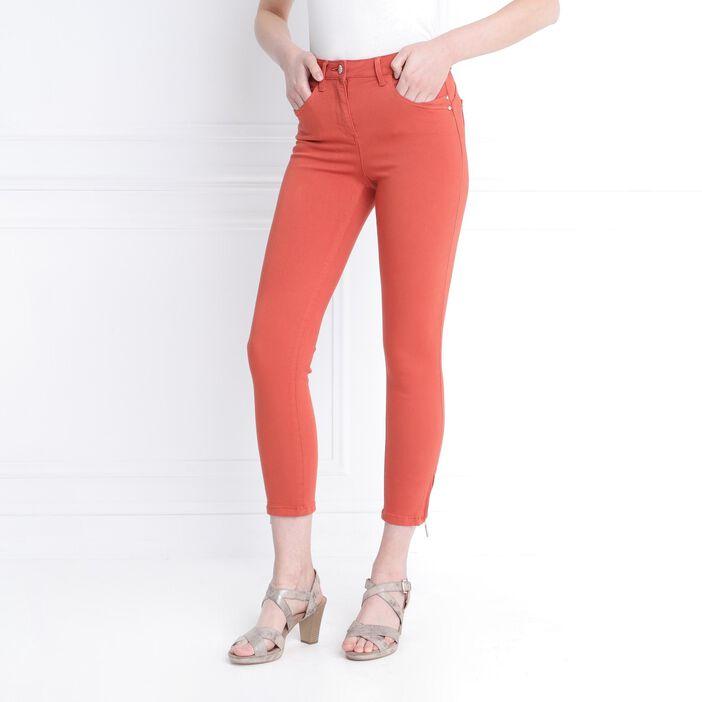 Pantalon ajusté taille haute rouge femme