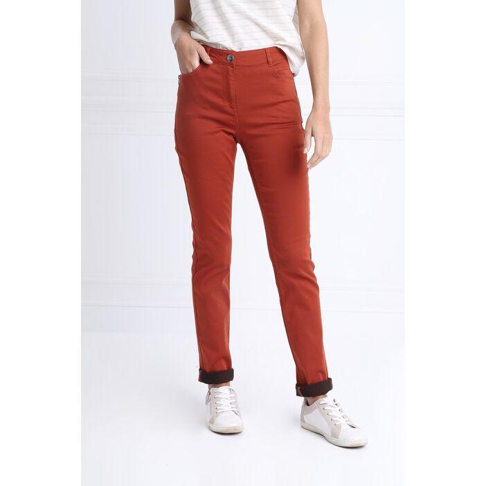 Pantalon taille standard zip poches orange foncé femme