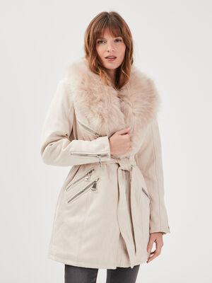 Manteau col fourrure creme femme