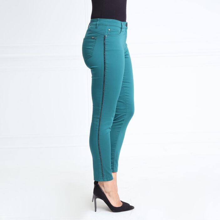 Pantalon taille standard ajusté vert canard femme