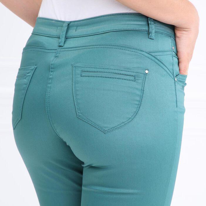 Pantalon enduit 7/8ème vert canard femme