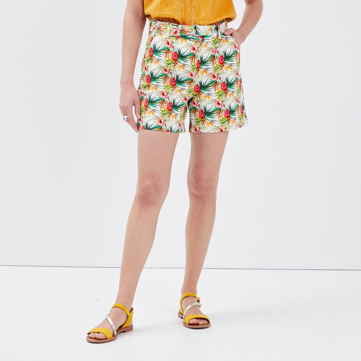 Short droit taille haute multicolore femme