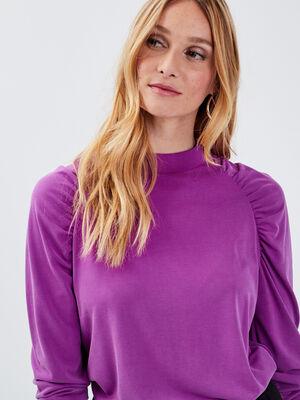 T shirt manches longues violet femme