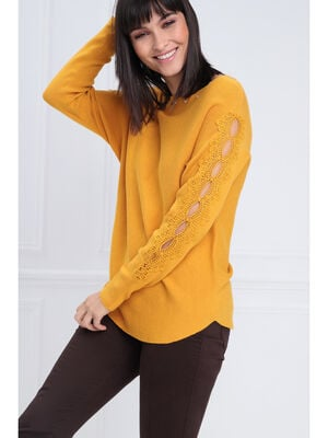 Pull manches longues macrame jaune or femme