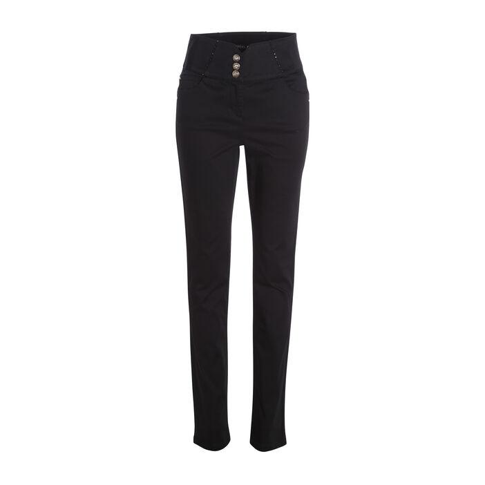 Pantalon taille haute ajusté pierres noir femme