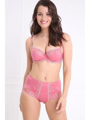 Culotte satinee voile brode rose femme