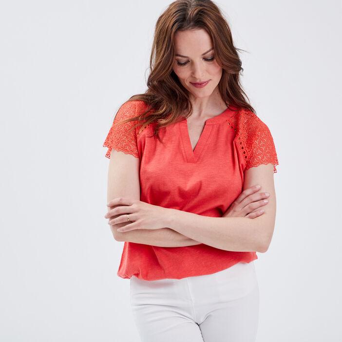 T-shirt manches courtes orange corail femme
