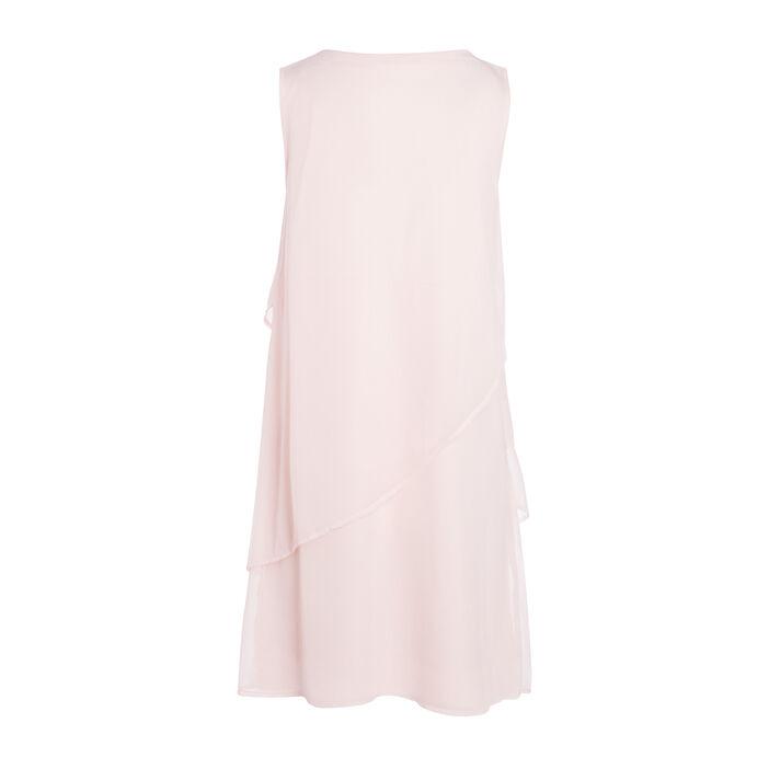 Robe courte fluide à volants rose femme