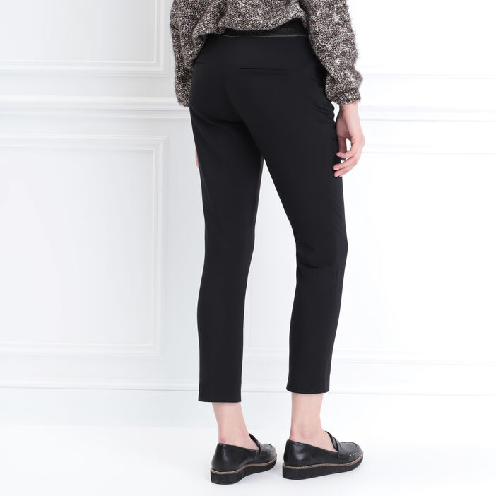 Pantalon carotte 4 poches noir femme