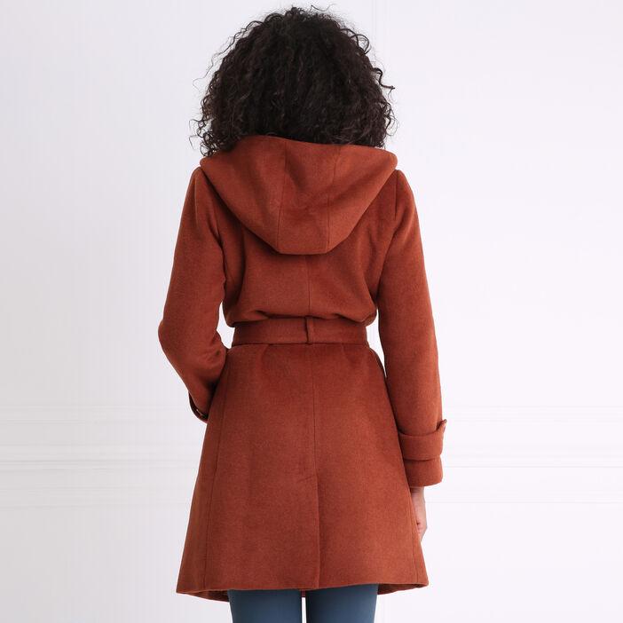 Manteau peignoir large capuche rouge foncé femme