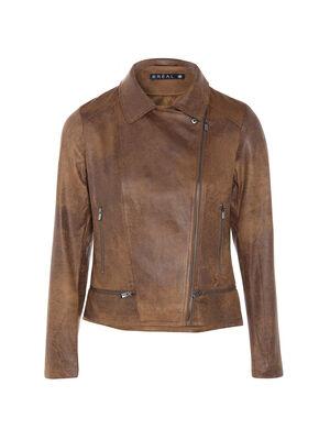 Veste esprit motard zippee marron fonce femme